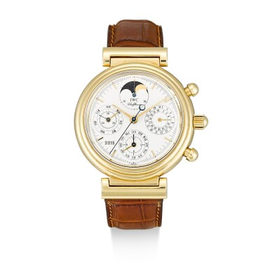 IWC | DA VINCI, REFERENCE 3750, A YELLOW GOLD PERPETUAL CALENDAR CHRONOGRAPH WRISTWATCH WITH MOON PHASES, CIRCA 2000