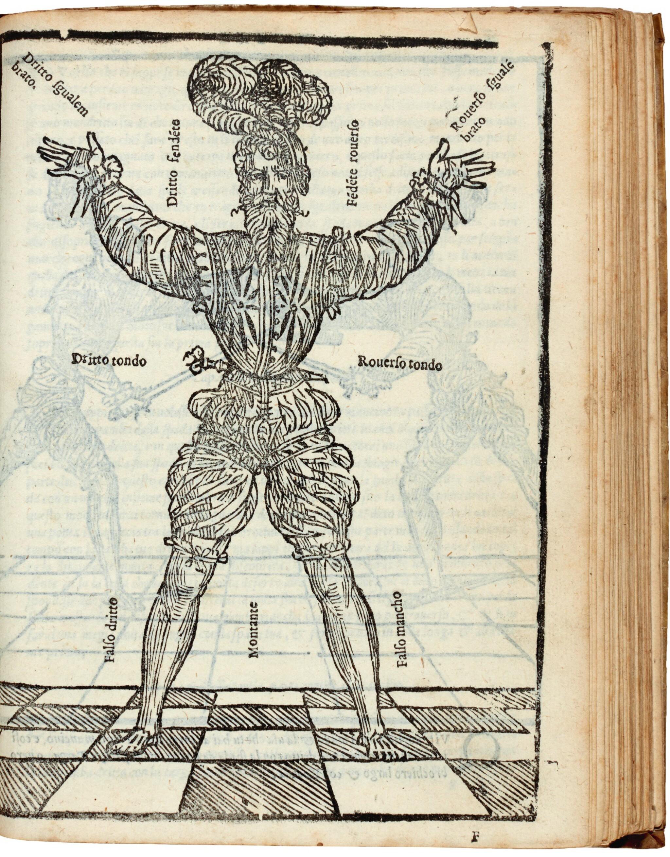 View full screen - View 1 of Lot 219. Marozzo, Opera nova de l'arte de l'armi, [Modena, c. 1540], contemporary limp vellum.