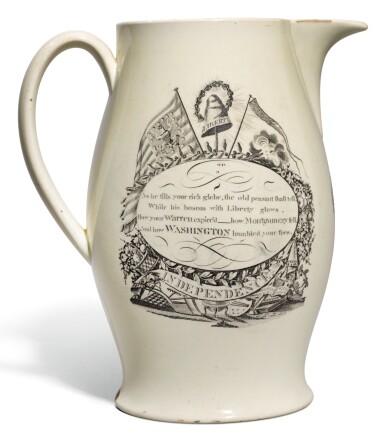A LIVERPOOL CREAMWARE TRANSFER-PRINTED `SUCCESS TO AMERICA` JUG, CIRCA 1795