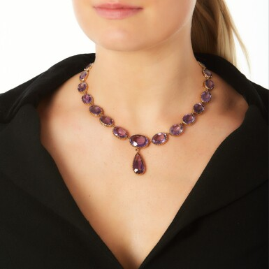 View 4. Thumbnail of Lot 224. AMETHYST NECKLACE.