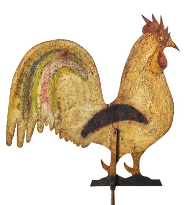 View 3. Thumbnail of Lot 1426.  AMERICAN POLYCHROME PAINT-DECORATED SHEET-IRON ROOSTER WEATHERVANE, CIRCA 1870.