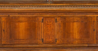 View 3. Thumbnail of Lot 178. An Austrian parcel-gilt intarsia inlaid walnut display cabinet, late 19th century.