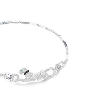 View 2. Thumbnail of Lot 13. Diamond, emerald and onyx necklace, 'Dame à la panthère'.