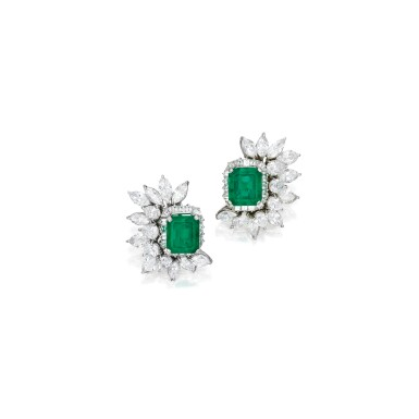 View 1. Thumbnail of Lot 550. PAIR OF EMERALD AND DIAMOND EARCLIPS | 祖母綠配鑽石耳環一對.