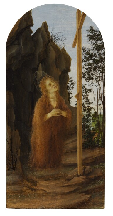 View 1. Thumbnail of Lot 125. Penitent Mary Magdalene adoring the True Cross in a rocky landscape.