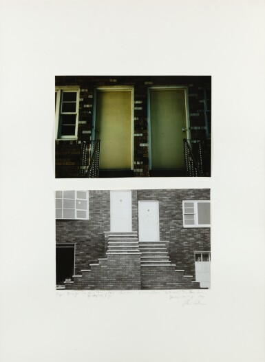 DAN GRAHAM | DOORS, 'TWO HOME HOUSE', JERSEY CITY, NEW JERSEY, 1966;  ENTRANCE STEPS, SPLIT LEVEL, 'TWO HOME HOUSE', JERSEY CITY, NEW JERSEY, 1966
