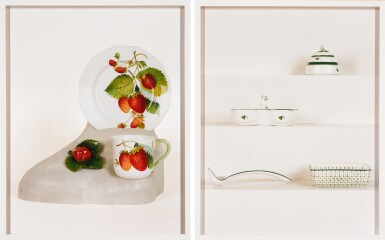 View 1. Thumbnail of Lot 96. Dishes (Strawberry); Dishes (Porcelain, Green) (Two Works).