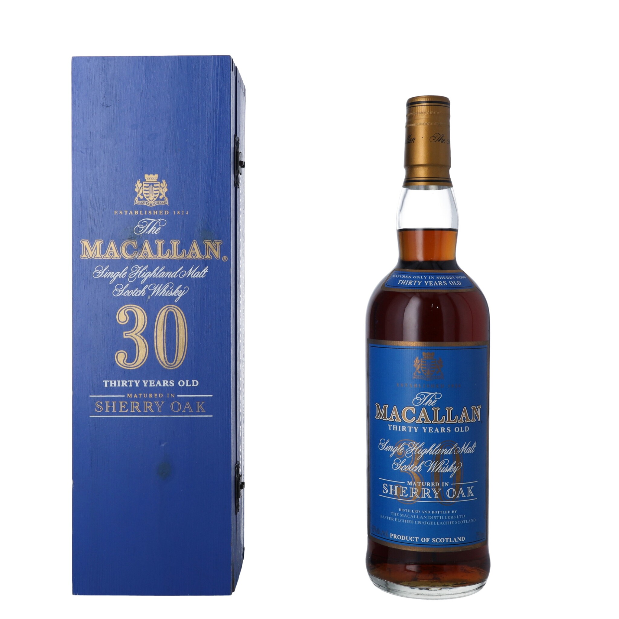 View full screen - View 1 of Lot 13. The Macallan 30 Year Old Sherry Oak Blue Box 43.0 abv NV (1 BT).
