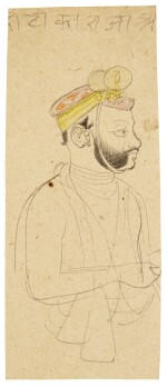 FIVE PORTRAIT DRAWINGS, INDIA, MUGHAL, LATE 18TH/19TH CENTURY
