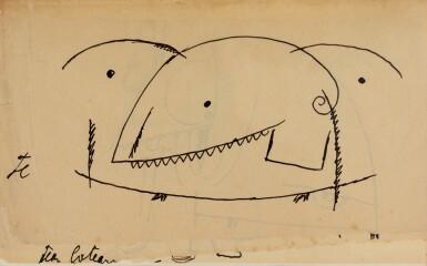 View 1. Thumbnail of Lot 27. JEAN COCTEAU. Le Potomak. 1919. 1/10 exemplaires sur vergé de Hollande (n° 7), contenant trois dessins originaux..