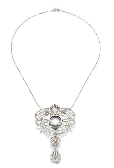 View 3. Thumbnail of Lot 678. Faint Pink diamond and natural pearl pendant/necklace combination, circa 1900 | 淡粉紅色鑽石配天然珍珠吊墜/系列組合,約1900年.