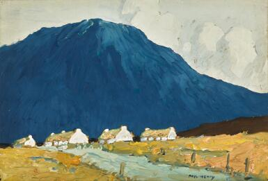 PAUL HENRY, R.H.A., R.U.A.   COTTAGES BY A STREAM