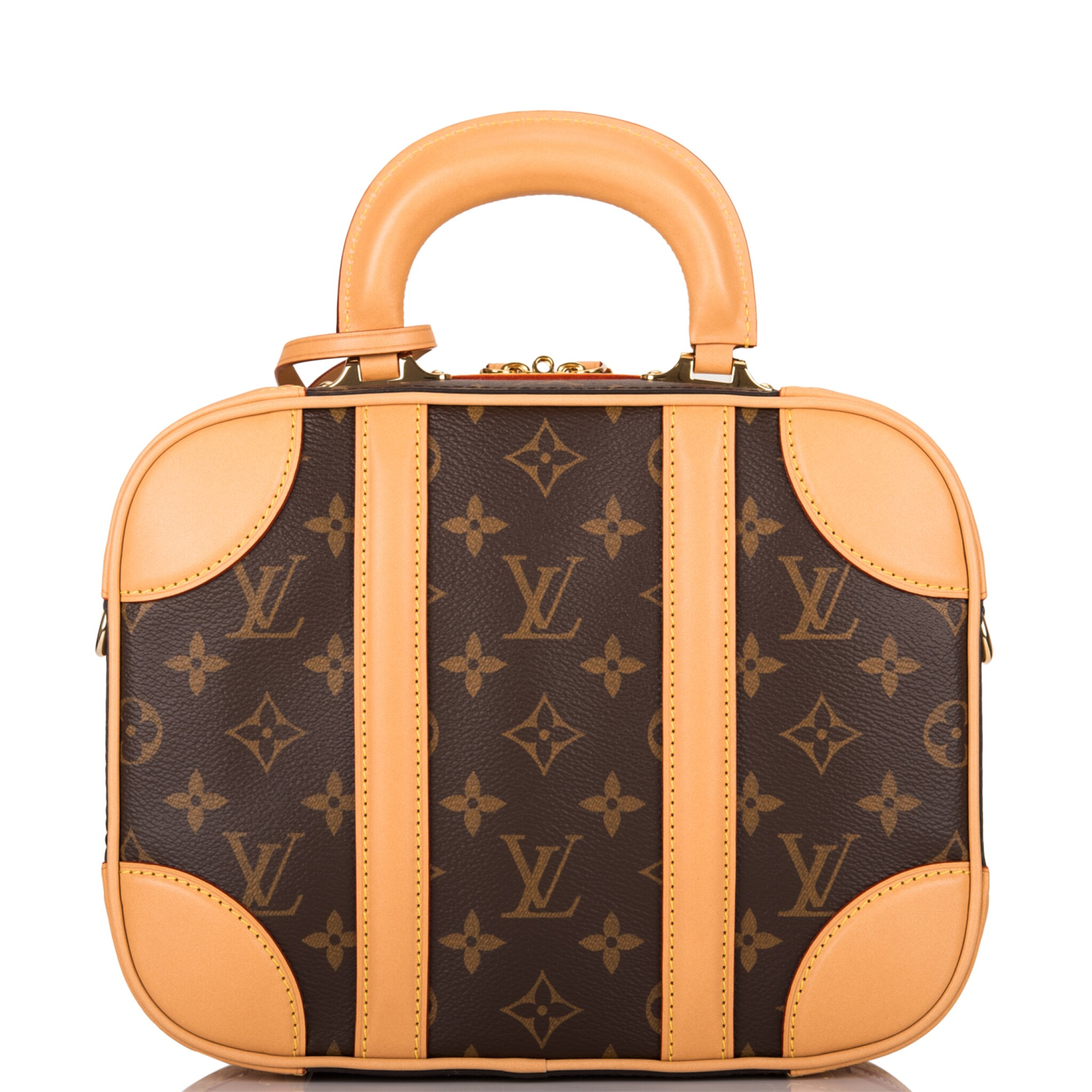 View full screen - View 1 of Lot 85. LOUIS VUITTON   MONOGRAM VALISETTE MINI LUGGAGE PM IN COATED CANVAS AND VACHETTA LEATHER WITH GOLDEN BRASS HARDWARE.