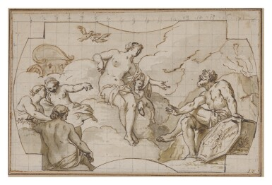 View 1. Thumbnail of Lot 551. GIUSEPPE VALERIANI | VENUS ASKS VULCAN TO FORGE ARMS FOR AENEAS.