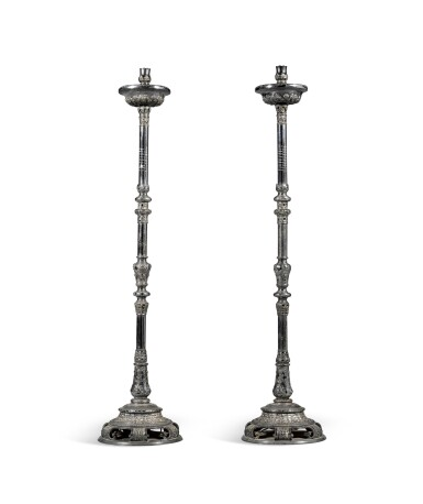 View 2. Thumbnail of Lot 28. A pair of Russian silver plated candle holders, Moscow, 1726.