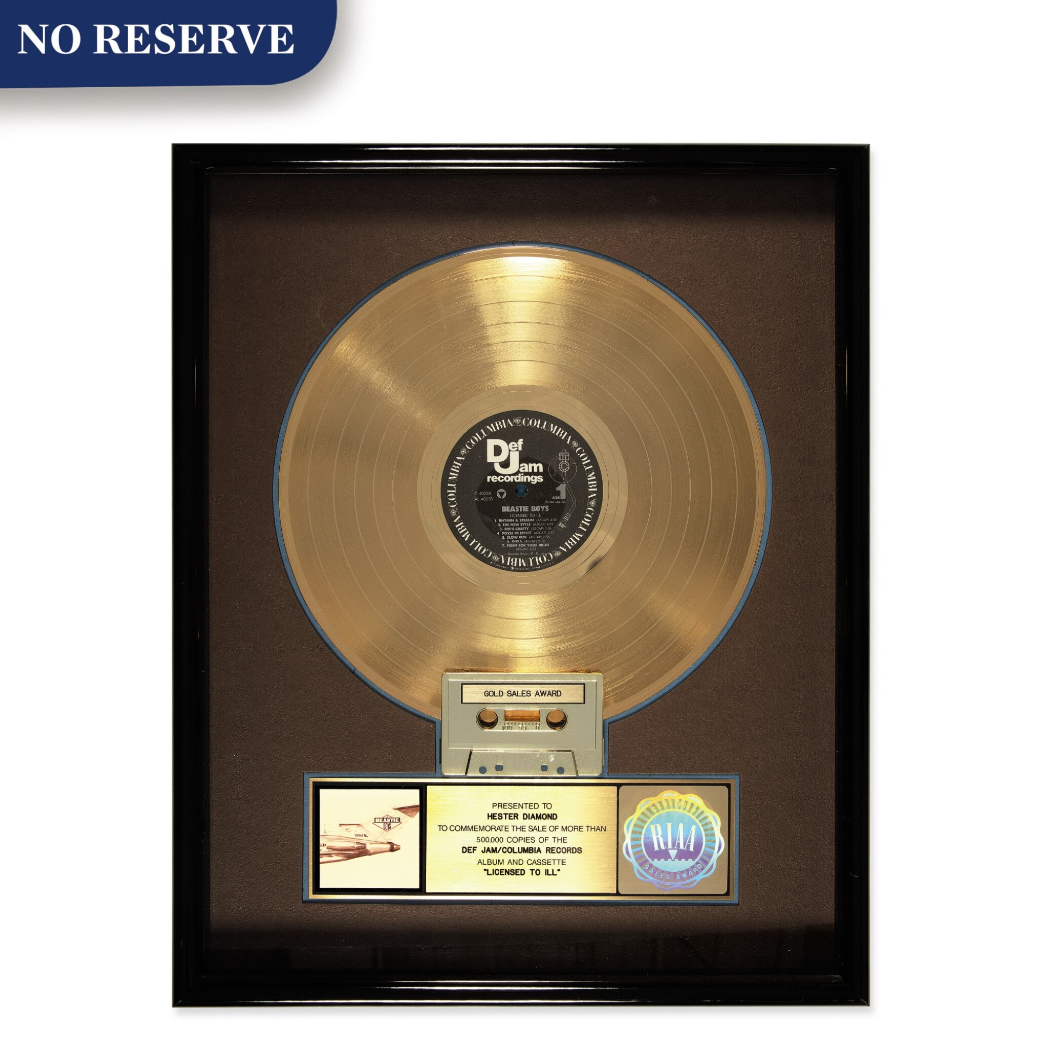 """View full screen - View 1 of Lot 303. RIAA 1987 Gold Sales Award presented to Hester Diamond for the Beastie Boys 1986 album """"Licensed to Ill""""."""