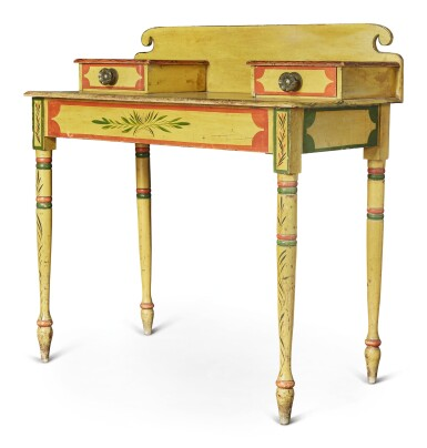 View 4. Thumbnail of Lot 318. Fine Classical Polychrome Paint-Decorated Pine Dressing Table, Maine, circa 1825-1840.