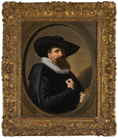 View 2. Thumbnail of Lot 7. FRANS HALS  |  PORTRAIT OF A MAN, HALF-LENGTH IN BLACK, WITH A BROAD-BRIMMED BLACK HAT AND A WHITE RUFF, HOLDING HIS GLOVES, WITHIN A PAINTED OVAL.