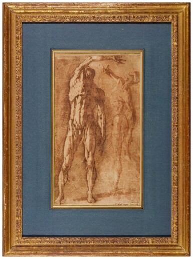 View 3. Thumbnail of Lot 45. ANDREA BOSCOLI  |  TWO STUDIES OF A FLAYED MALE NUDE, AFTER PIETRO FRANCAVILLA.