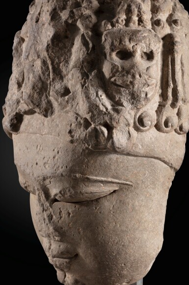 View 6. Thumbnail of Lot 243. A monumental buff sandstone head of a Devi North India, 9th-10th century | 印度北部 九至十世紀 砂岩雕提毗首.