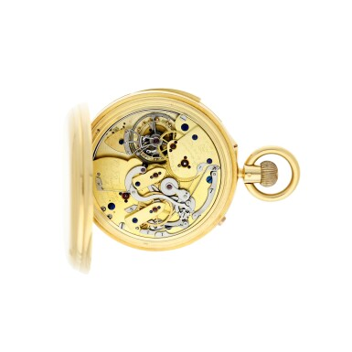View 5. Thumbnail of Lot 85. AN IMPRESSIVE AND EXCEPTIONAL LARGE YELLOW GOLD OPEN-FACED MINUTE REPEATING SPLIT-SECOND CHRONOGRAPH WATCH WITH ONE MINUTE TOURBILLON AND 60-MINUTE REGISTER, 1931, SOLD TO J.P. MORGAN JR. IN 1933.