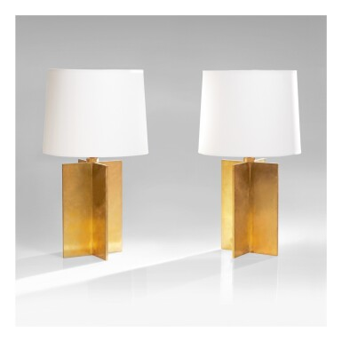 """View 1. Thumbnail of Lot 34. Pair of """"Croisillon"""" Table Lamps."""