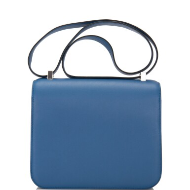 View 4. Thumbnail of Lot 18.  Hermès Bleu Agate Constance 24cm of Swift Leather with Palladium Hardware.