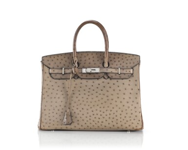 BIRKIN 35 OSTRICH LEATHER GRIS TOURTERELLE COLOUR WITH PALLADIUM HARDWARE. HERMÈS, 2006