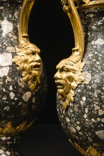 A PAIR OF LOUIS XVI GILT-BRONZE MOUNTED TRACHYANDÉSITE MARBLE VASES LATE 18TH CENTURY