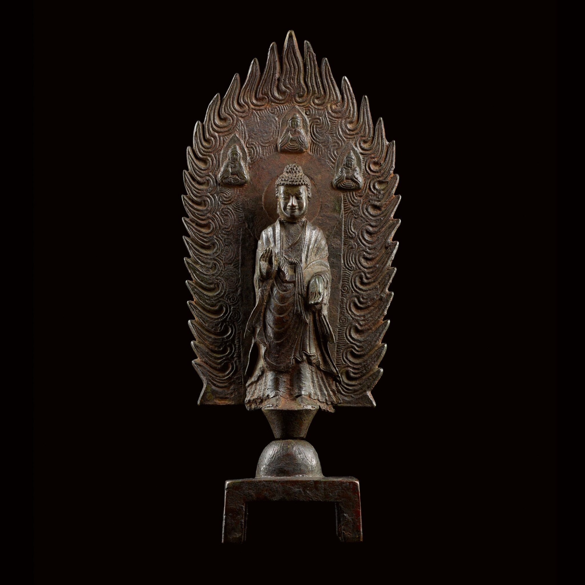 View full screen - View 1 of Lot 76. A MAGNIFICENT, LARGE AND EXTREMELY RARE BRONZE VOTIVE FIGURE OFMAITREYA NORTHERN WEI DYNASTY, DATED 3RD YEAR OF THE JINGMING PERIOD (IN ACCORDANCE WITH 502) | 北魏 銅彌勒佛立像 《景明三年四月二十日》款.