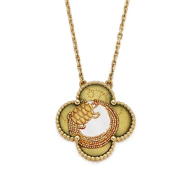 View 3. Thumbnail of Lot 1697. Limited Edition 'Alhambra' Mother-of-Pearl and Lacquer Pendent Necklace  梵克雅寶   'Alhambra' 限量版貝母 配 蒔繪 項鏈.