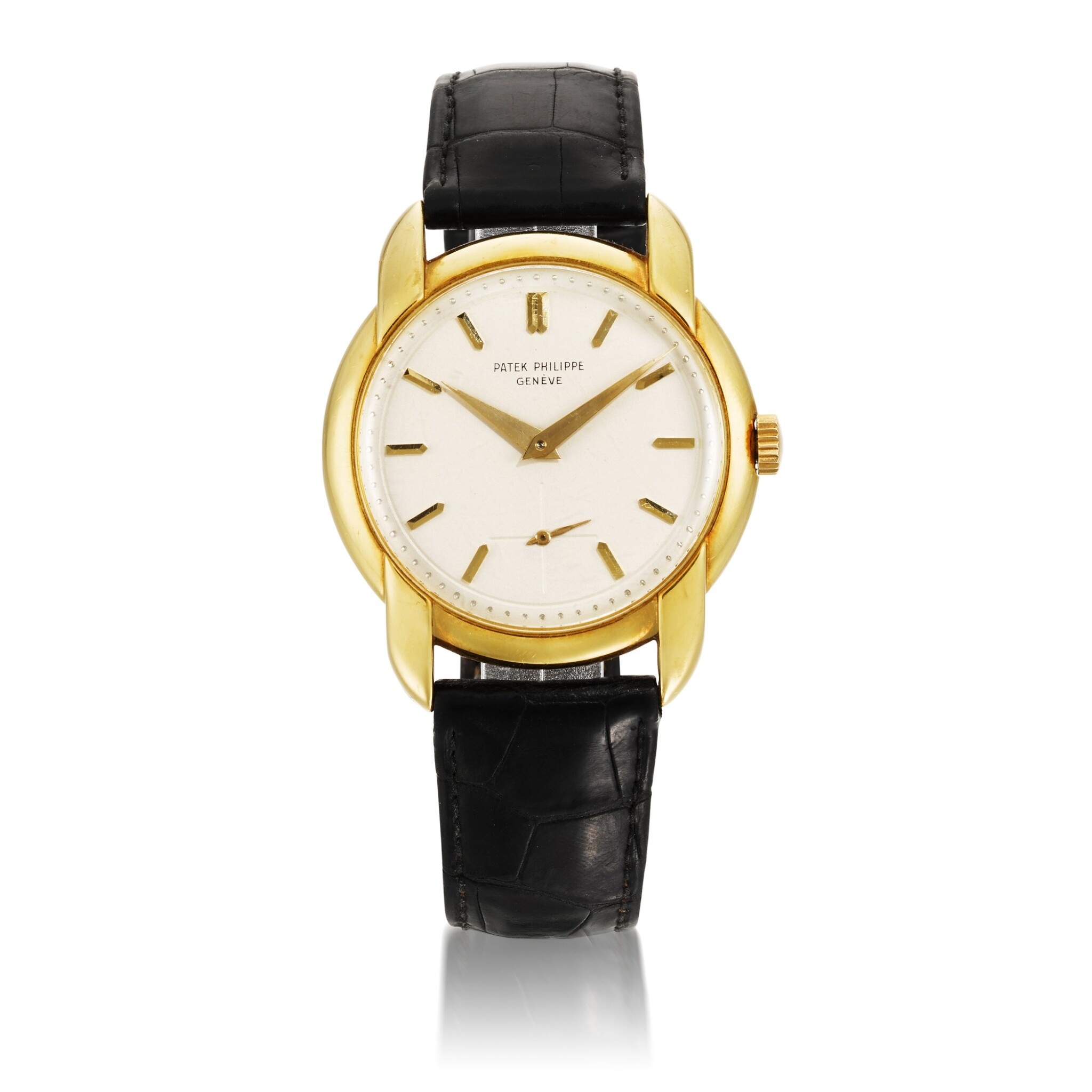 View full screen - View 1 of Lot 408. REF 2536 YELLOW GOLD WRISTWATCH WITH ENLARGED ROUNDED BEZEL AND UNUSUAL CURVED OVERLAPPING LUGS MADE IN 1957.