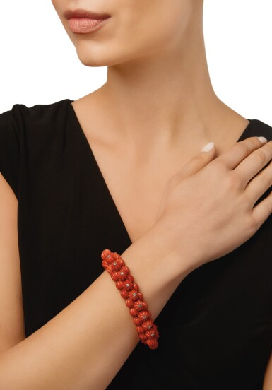 View 3. Thumbnail of Lot 44. CARTIER   CORAL AND DIAMOND BRACELET.