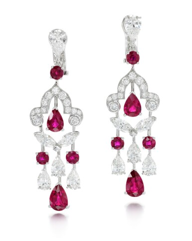 View 1. Thumbnail of Lot 202.  GRAFF | PAIR OF RUBY AND DIAMOND EARRINGS.