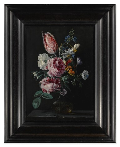 View 3. Thumbnail of Lot 144. ANTWERP SCHOOL, CIRCA 1650'S | A BOUQUET OF NARCISSUS, PARROT TULIP, ROSES AND OTHER FLOWERS IN A GLASS VASE ON A STONE PLINTH.