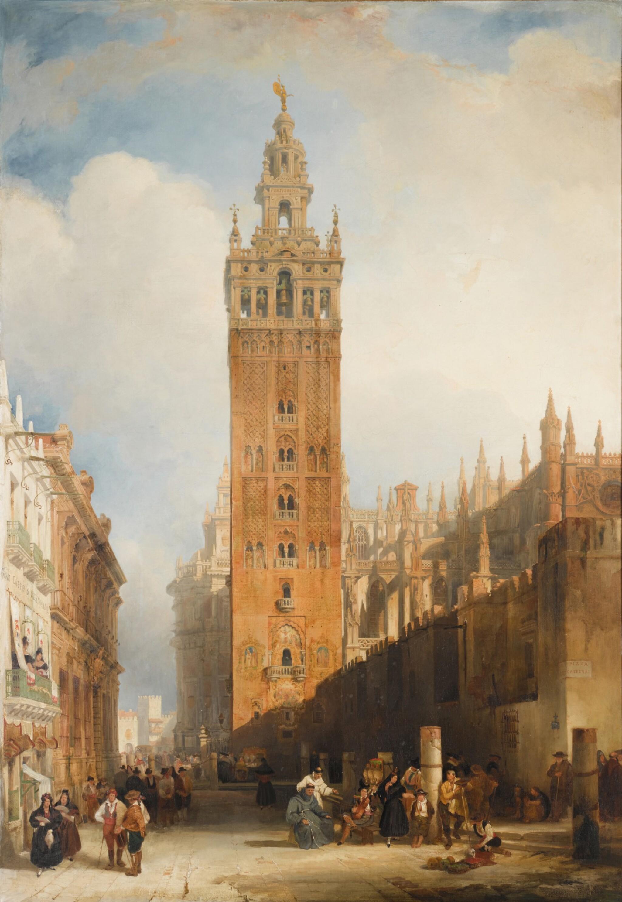 View full screen - View 1 of Lot 159. DAVID ROBERTS, R.A. |  THE MOORISH TOWER AT SEVILLE, CALLED THE GIRALDA.