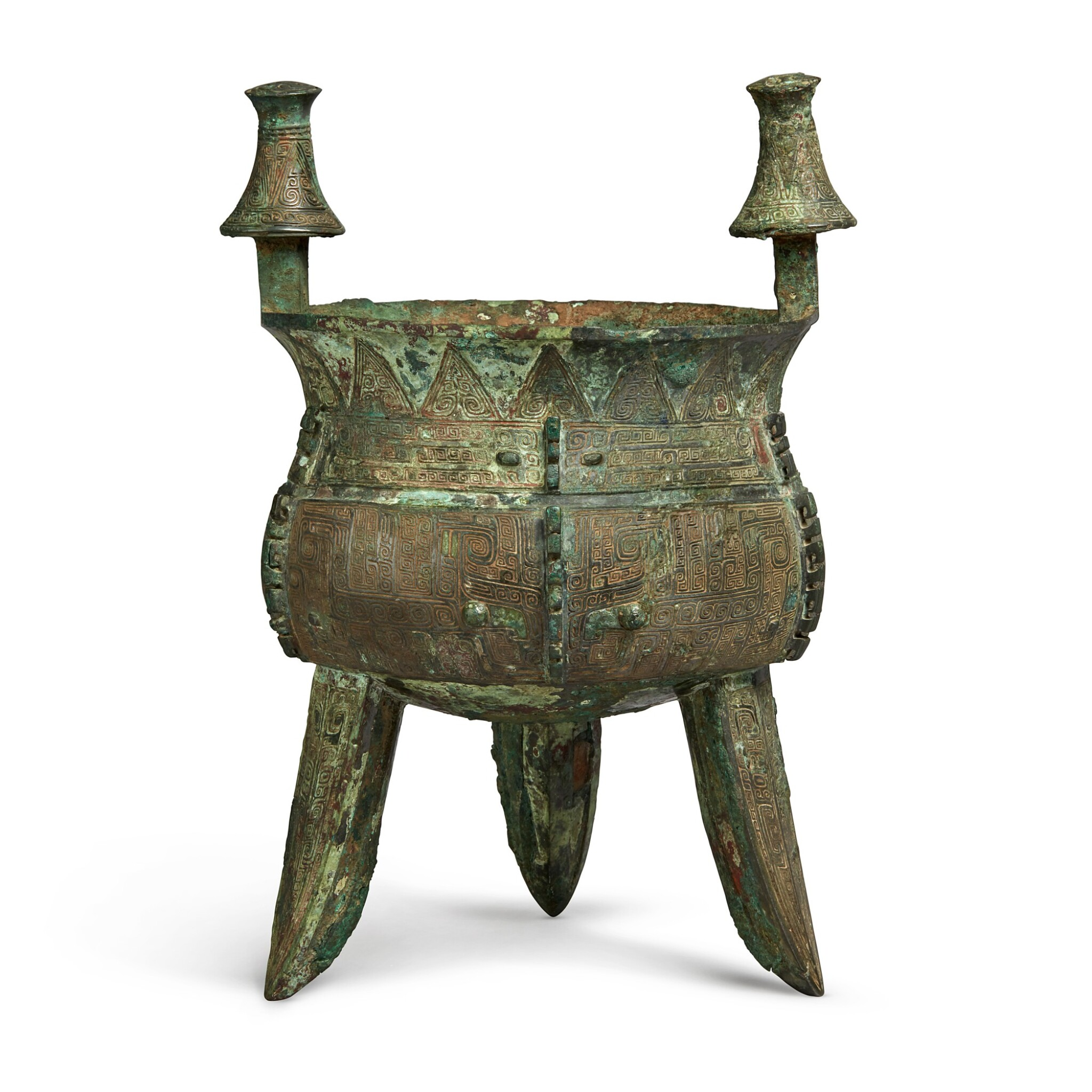 View full screen - View 1 of Lot 11. An exceptional and rare archaic bronze ritual wine vessel (Jia), Late Shang dynasty | 商末 䖵崠耒斝.