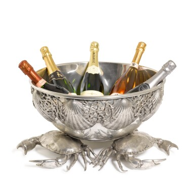 View 1. Thumbnail of Lot 22. A large Italian pewter champagne and wine cooler, designed by Piero Figura for Atena, Milan, modern.