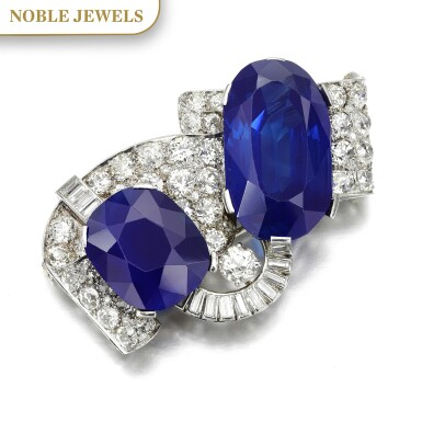 View 1. Thumbnail of Lot 179. Important sapphire and diamond brooch, 1930s | 藍寶石配鑽石別針,1930年代.
