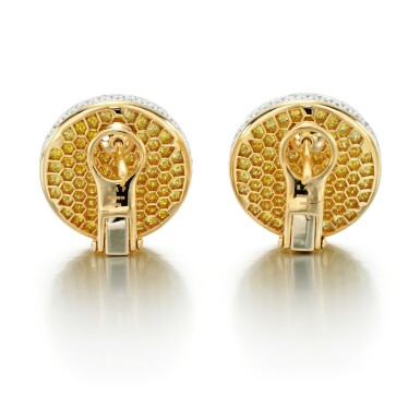 View 3. Thumbnail of Lot 53. GRAFF | PAIR OF COLOURED DIAMOND AND DIAMOND EARRINGS.