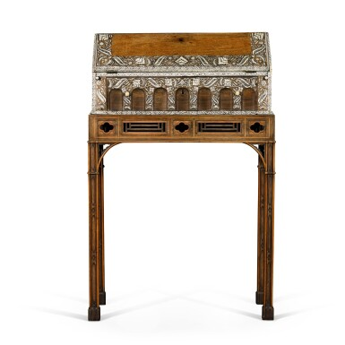 View 2. Thumbnail of Lot 246. An Anglo-Indian rosewood and ivory inlaid table bureau on a mahogany and fruitwood stand by Thomas Chippendale, the bureau, Vizagapatam, circa 1740-50, the stand, London, 1767.