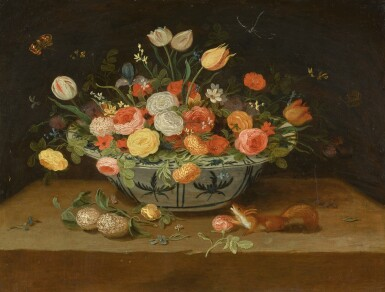 View 1. Thumbnail of Lot 142. PSEUDO-JAN VAN KESSEL II | A still life of flowers in a porcelain bowl and a squirrel on a stone ledge.