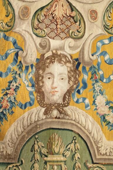 View 6. Thumbnail of Lot 22. A PAIR OF LOUIS XIV TAPESTRIES PORTIÈRES, PROBABLY LILLE, WORKSHOP OF GUILLAUME WERNIERS   PAIRE DE PORTIÈRES AUX ARMES EN TAPISSERIE, PROBABLEMENT LILLE, ATELIER DE GUILLAUME WERNIERS, D'ÉPOQUE LOUIS XIV.
