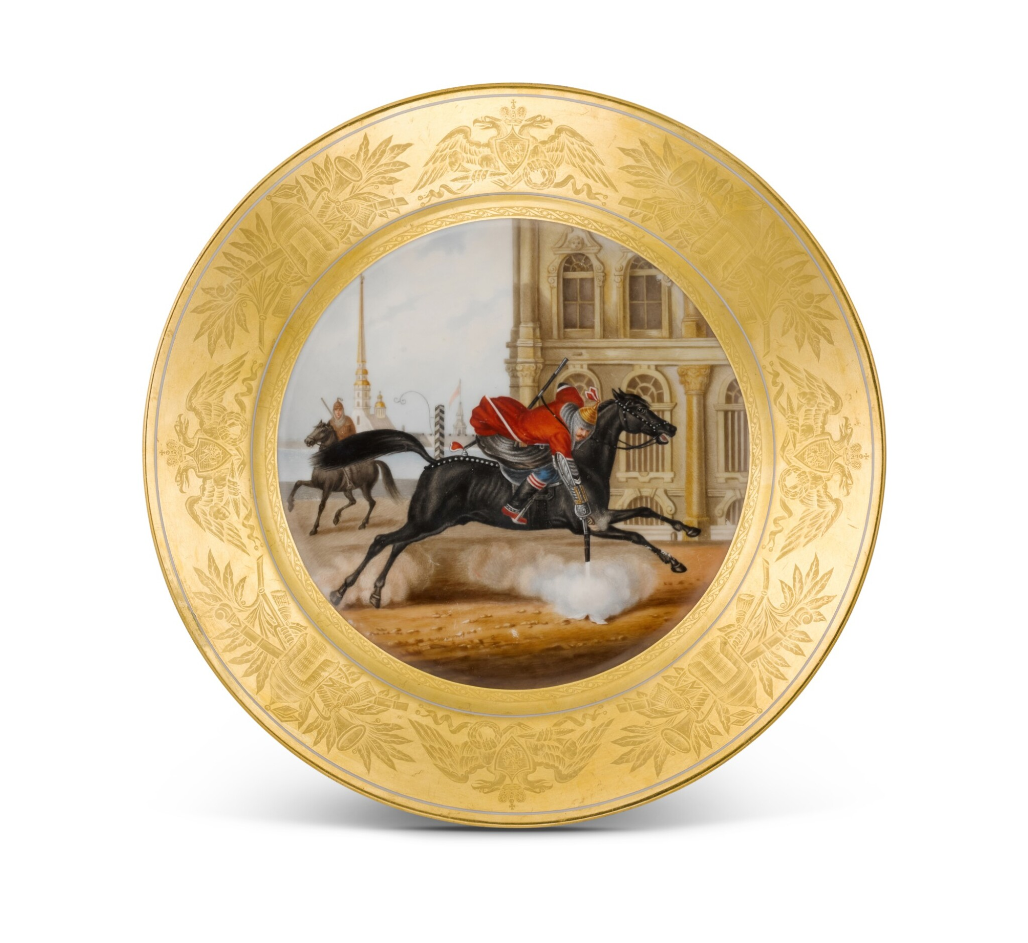 View full screen - View 1 of Lot 182. JUNKER OF THE LIFE-GUARDS CAUCASUS MOUNTAIN SQUADRON: A PORCELAIN MILITARY PLATE, IMPERIAL PORCELAIN FACTORY, ST PETERSBURG, PERIOD OF NICHOLAS I (1825-1855), 1833.