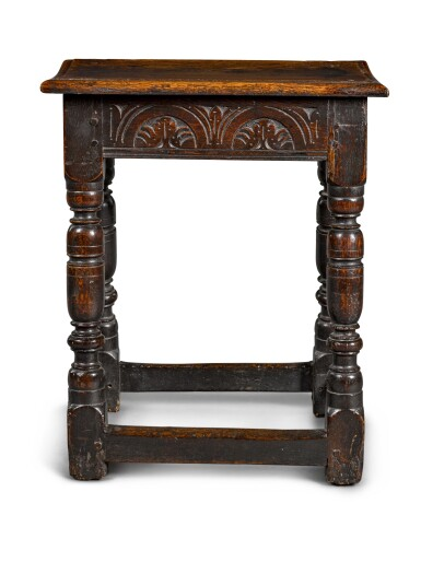 View 2. Thumbnail of Lot 25. A Charles II oak joined stool, third quarter 17th century.
