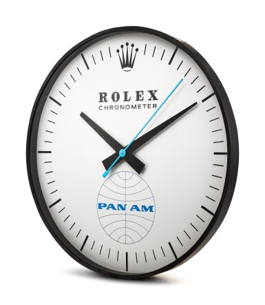 View 2. Thumbnail of Lot 8136. HANDOVER MANUFACTURE INC FOR ROLEX | REFERENCE G-062, A LARGE BLACKENED METAL WALL CLOCK, MADE FOR PAN-AM AMERICAN AIRWAYS, CIRCA 1965.