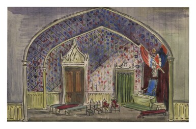 View 1. Thumbnail of Lot 23. CECIL BEATON   STAGE DESIGN FOR MEDIEVAL CHAMBER.