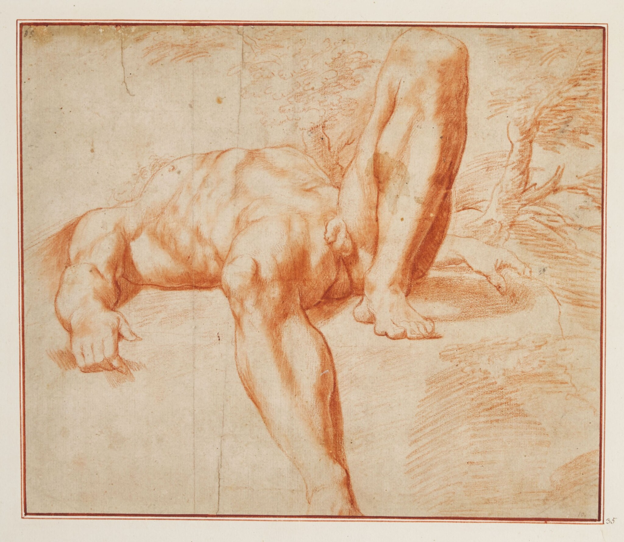 View full screen - View 1 of Lot 523. ROMAN SCHOOL, EARLY 17TH CENTURY | Reclining male nude.