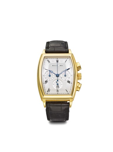 BREGUET | HERITAGE REF 5460 A YELLOW GOLD AUTOMATIC TONNEAU FORM CHRONOGRAPH WRISTWATCH WITH REGISTERS AND DATE CIRCA 2000