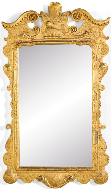 View 1. Thumbnail of Lot 51. A PAIR OF IRISH GEORGE II GILTWOOD AND GILT-GESSO PIER GLASSES, CIRCA 1740.